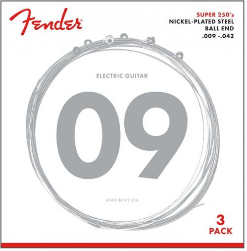 Fender Super 250L NPS Ball End Strings (.009-.042 Gauges) 3-Pack electric guitar strings