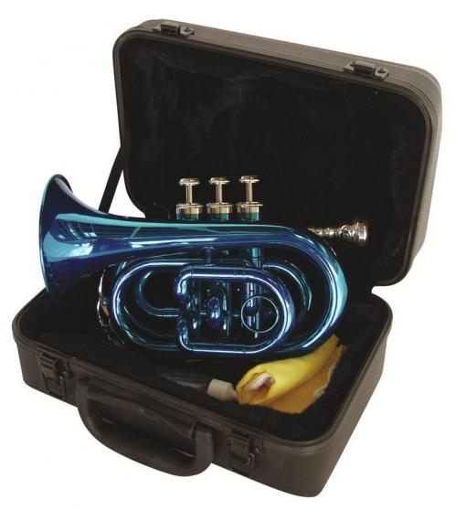 Dimavery TP-300 Bb pocket trumpet, blue